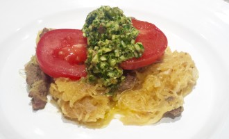 Spaghetti Squash with Lamb and Almond Salsa Verde